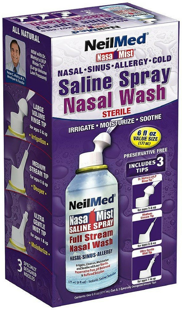 NeilMed NasaMist Saline Spray 6 oz (Pack of 12) by NeilMed