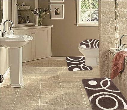 Amazoncom Wpm 3 Piece Bath Rug Set Circle Pattern Bathroom Rug