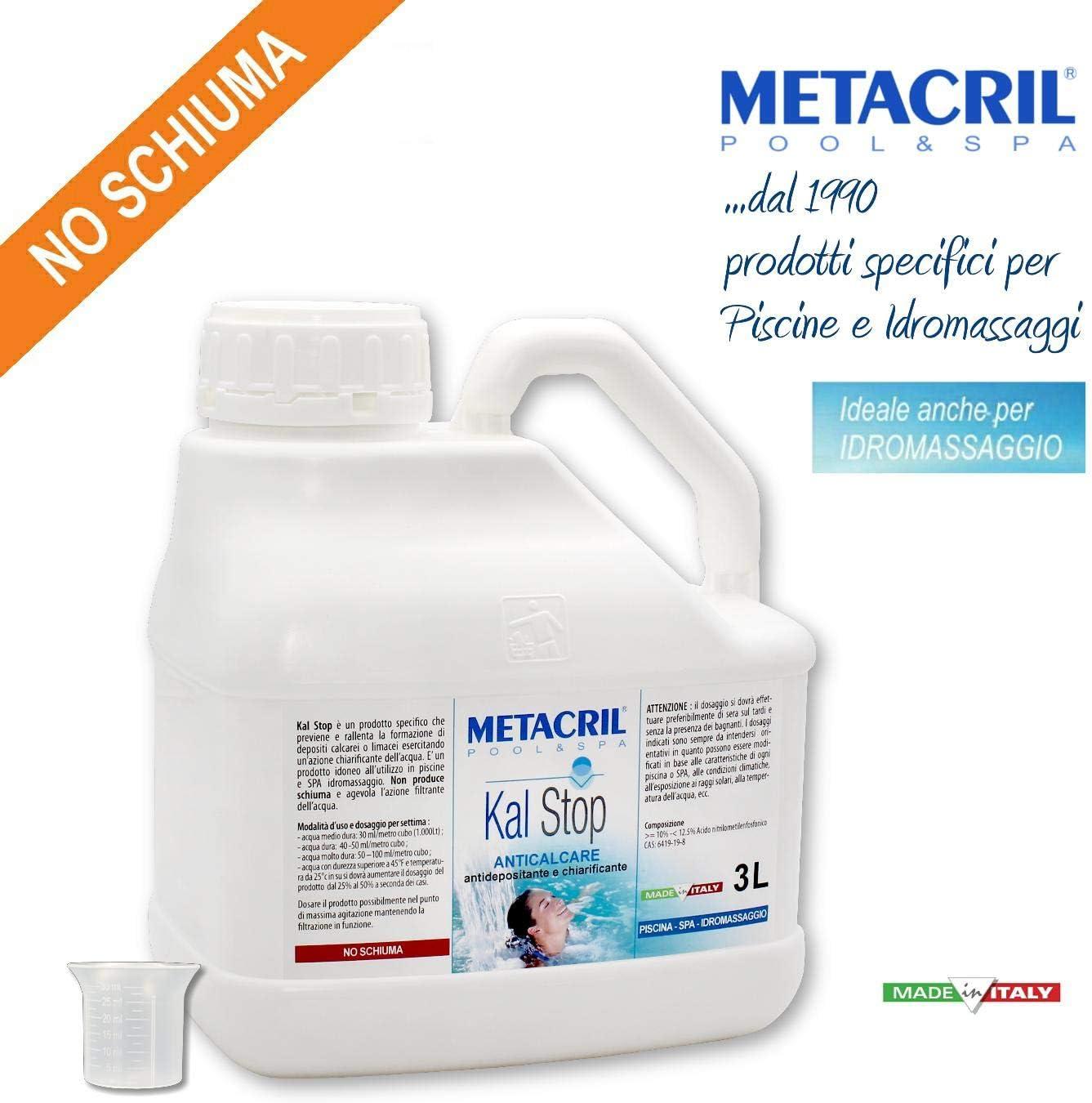 Metacril antical y aclarante – Kal Stop 3 l + dosificador. No Espuma, Ideal para Piscina o hidromasaje (Teuco, Jacuzzi, Dimhora, Intex,Bestway,ECC). Envío inmediato.