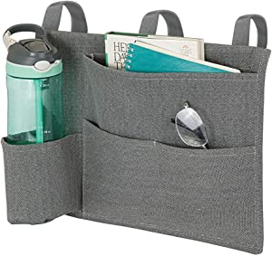 mDesign Bedside Hanging Storage Organizer Caddy Pocket - 4 Pockets - Heavy Weight Cotton Canvas, 3 Loops for Hanging on Bed Frame - Charcoal Gray