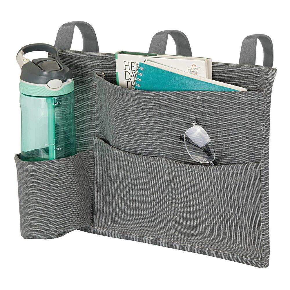 kompakte H/ängeaufbewahrung mit 4 F/ächern aus Baumwolle Ordnungssystem mit 3 Schlaufen zum Einh/ängen am Bettrahmen mDesign Betttasche espressobraun