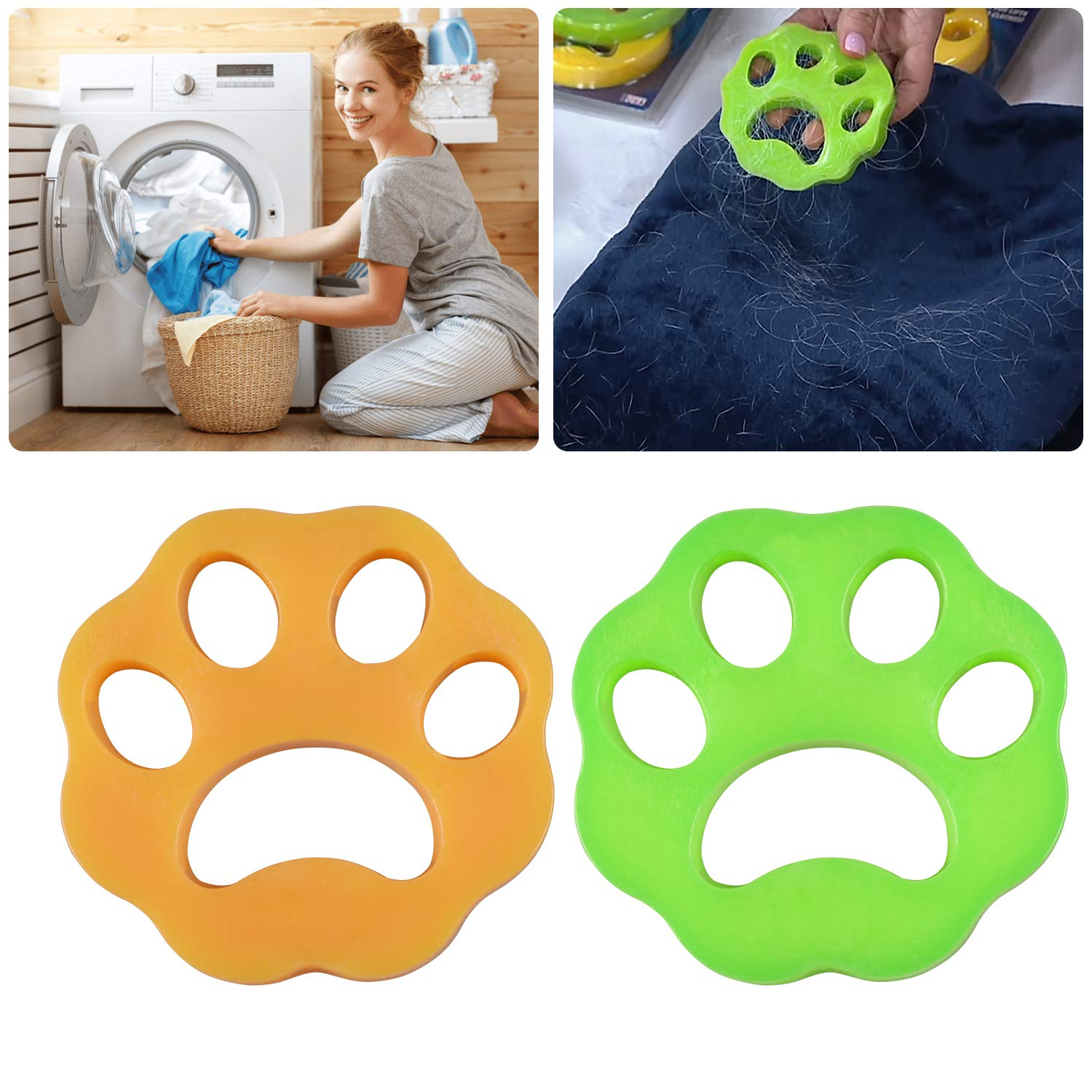 Pet Hair Remover for Laundry - LEADTEAM Non-Toxic Reusable with Remove Hair from Dogs and Cats on Clothes in The Washing Machine -2 Pcs