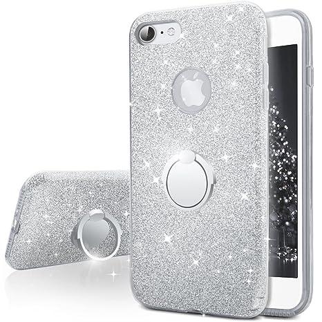 Miss Arts Funda iPhone 7,Carcasa Brillante Brillo con Soporte Giratorio de 360 Grados, Cubierta Exterior de TPU Suave + armazón Interior de PC Duro ...