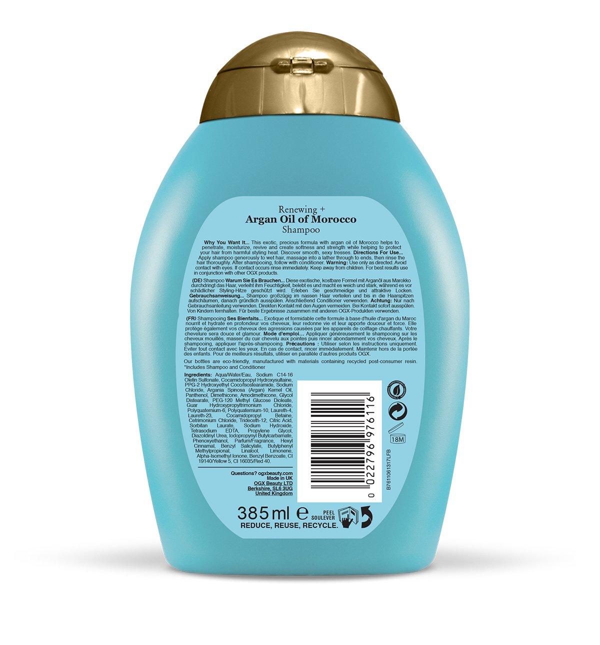 Ogx Renewing Argon Oil Of Morocco Shampoo 385ml Amazon Beauty