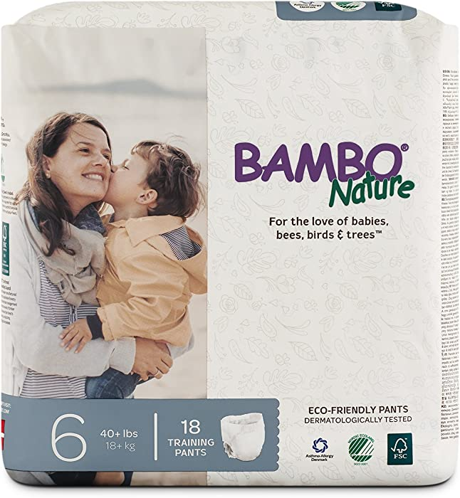 Bambo Nature Eco Friendly Premium Training Pants for Sensitive Skin, Size 6 (40+ lbs), 18 Count