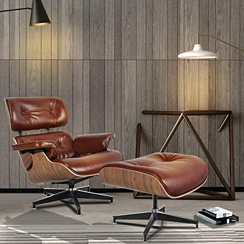 Mid Century Lounge Chair Indoor Recliner w/Ottoman Full Grain Italian Aniline Leather Classic Modern Living Room Bedroom Reading Gaming Comfortable Plywood Swivel Sofa Bright Brown Walnut