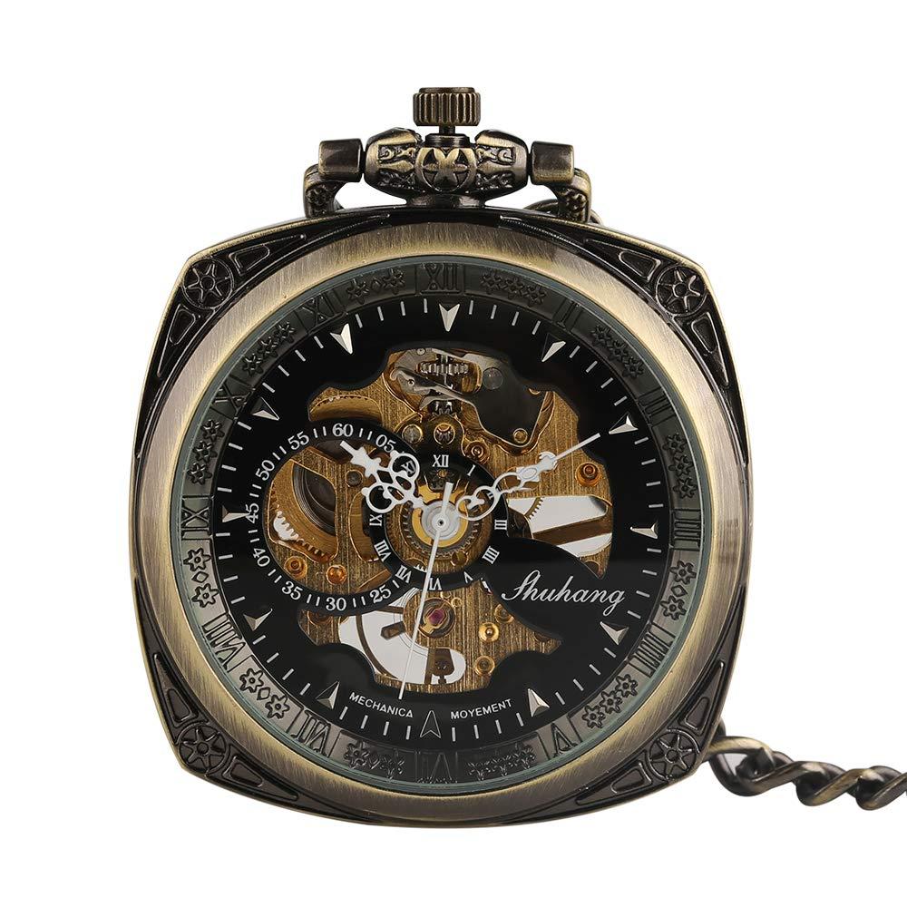 Antique Pocket Watch, Brand Skeleton Classic Mechanical Hand Wind Pocket Watch, Gift for Women Man