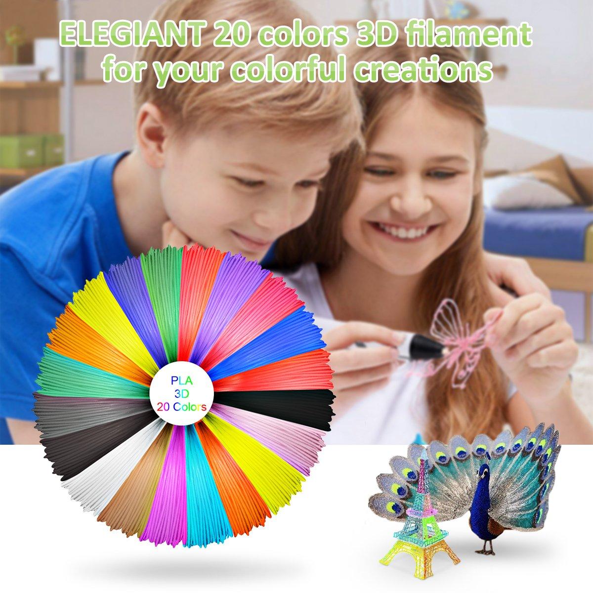 ELEGIANT 20 Pezzi PLA 1.75mm 10M Materiali Filamenti per Stampa 3D Filamenti per Stampanti 3D Materiali per la Stampa 3D Hobby Creativi 3D