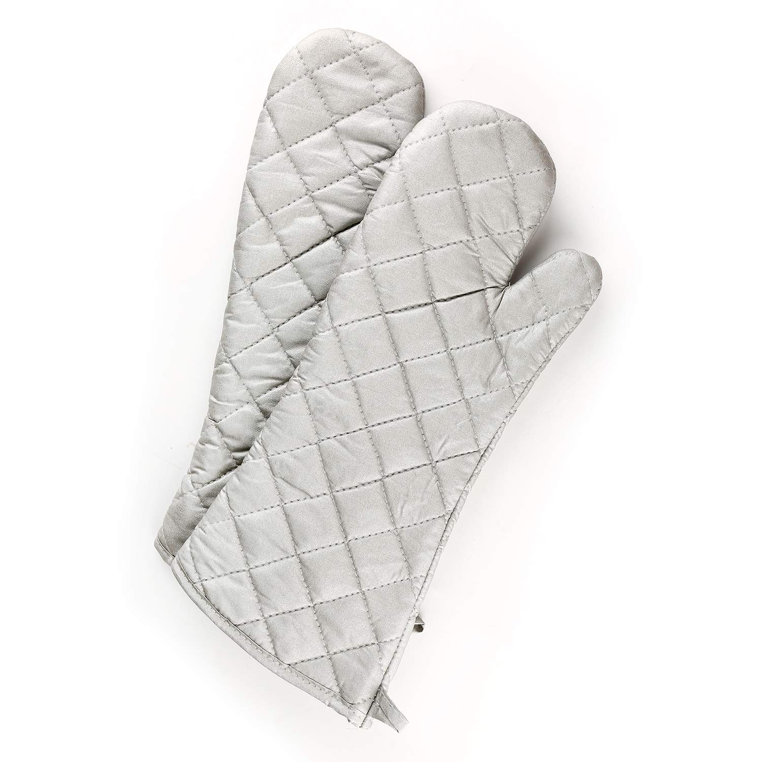 "VEIKERY Coated Silver Oven Mitts 100% Cotton Heat Resistant Protection Non Slip Kitchen Oven Gloves for Baking Grilling Barbecue BBQ Machine Washable Set of 2 17.7"" x 6.6"""