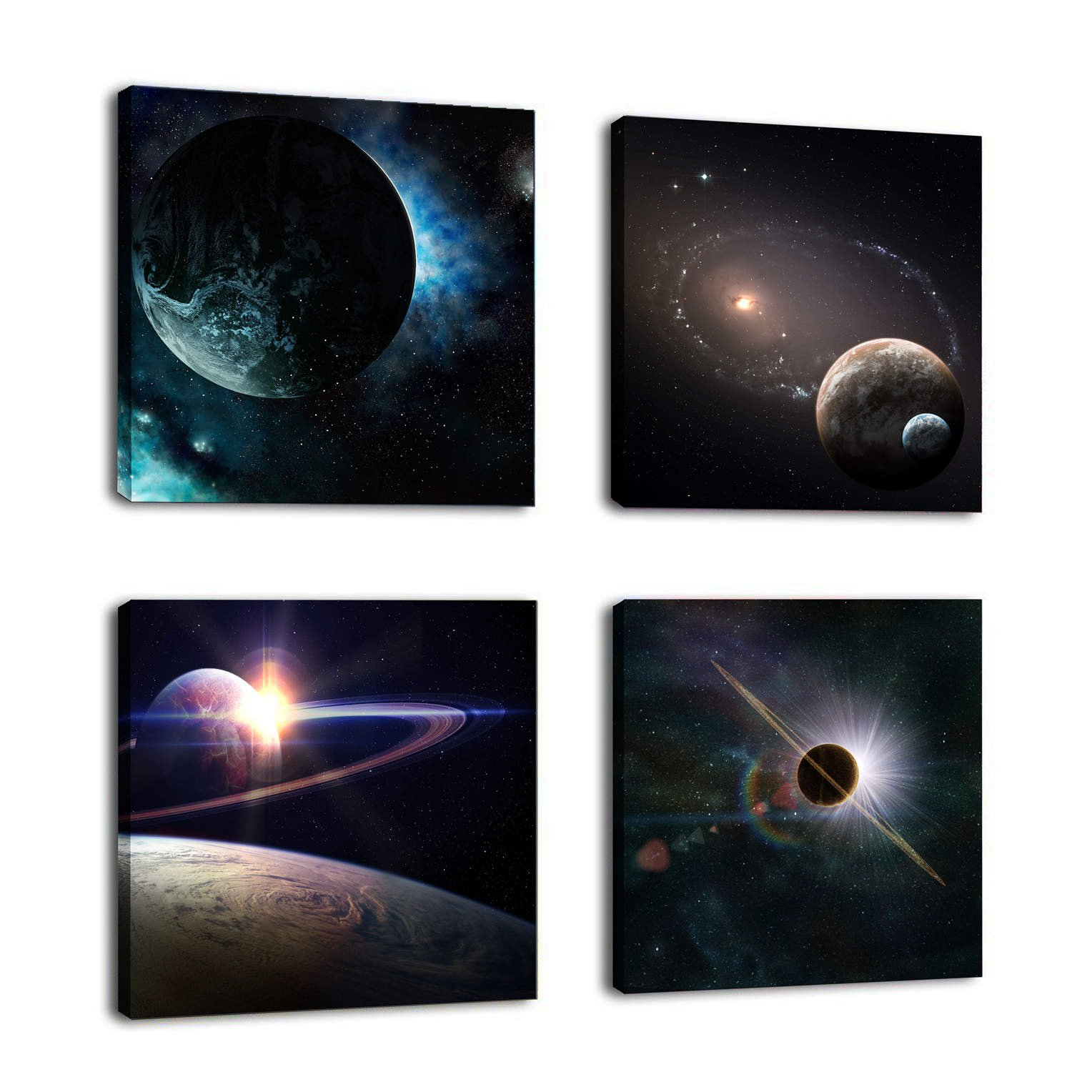 Natural art –Outer Space Planet Painting Canvas Prints Wall Decoration Wooden Frame 4pcs/set