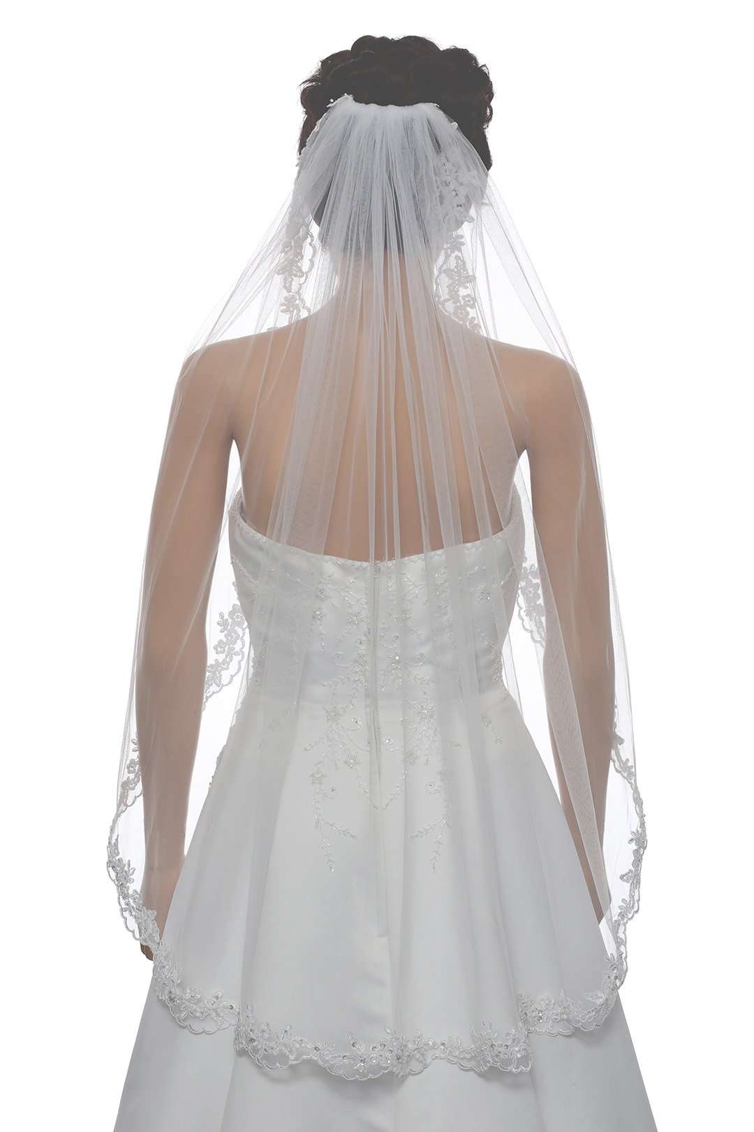 1T 1 Tier Flower Scallop Embroided Lace Pearl Veil - White Fingertip Length 36'' V466