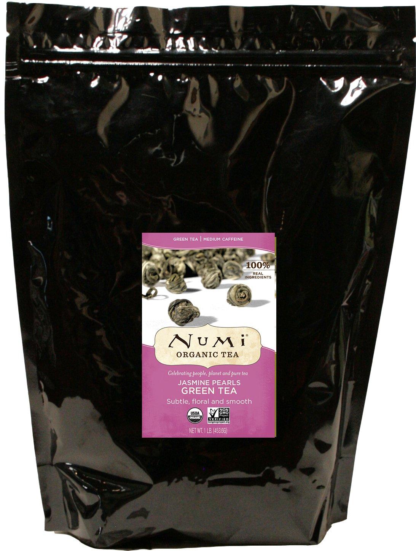 Numi Organic Tea Jasmine Pearls, 16 Ounce Bulk Pouch, Premium Organic Full Leaf Green Tea, Loose Leaf Flowering Tea Buds Scented with Real Organic Jasmine