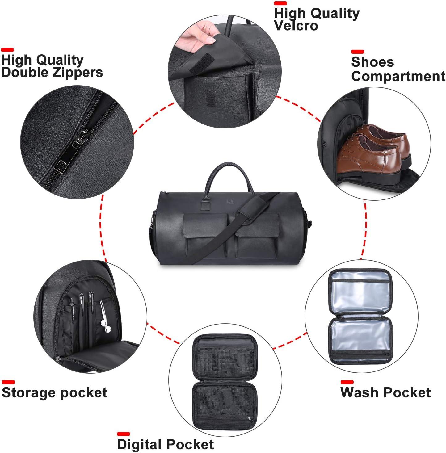 UNIQUEBELLA Travel Suit Bag Oversize Garment Duffel Bag Fiber Leather Suit Carrier Holdall for Men with Shoe Compartment Black