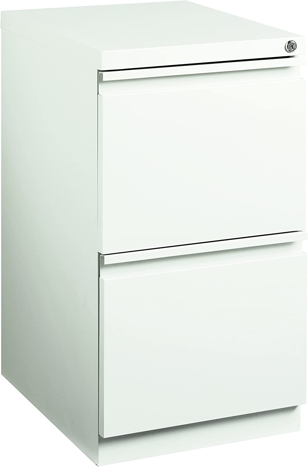 Pro Series Two Drawer Mobile Pedestal File Cabinet, White, 20 inches deep