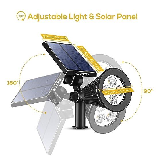 amazoncom victsing 4 pack solar spotlights 2in1 waterproof outdoor adjustable 4 led landscape solar lights wall light for driveway yard lawn garden