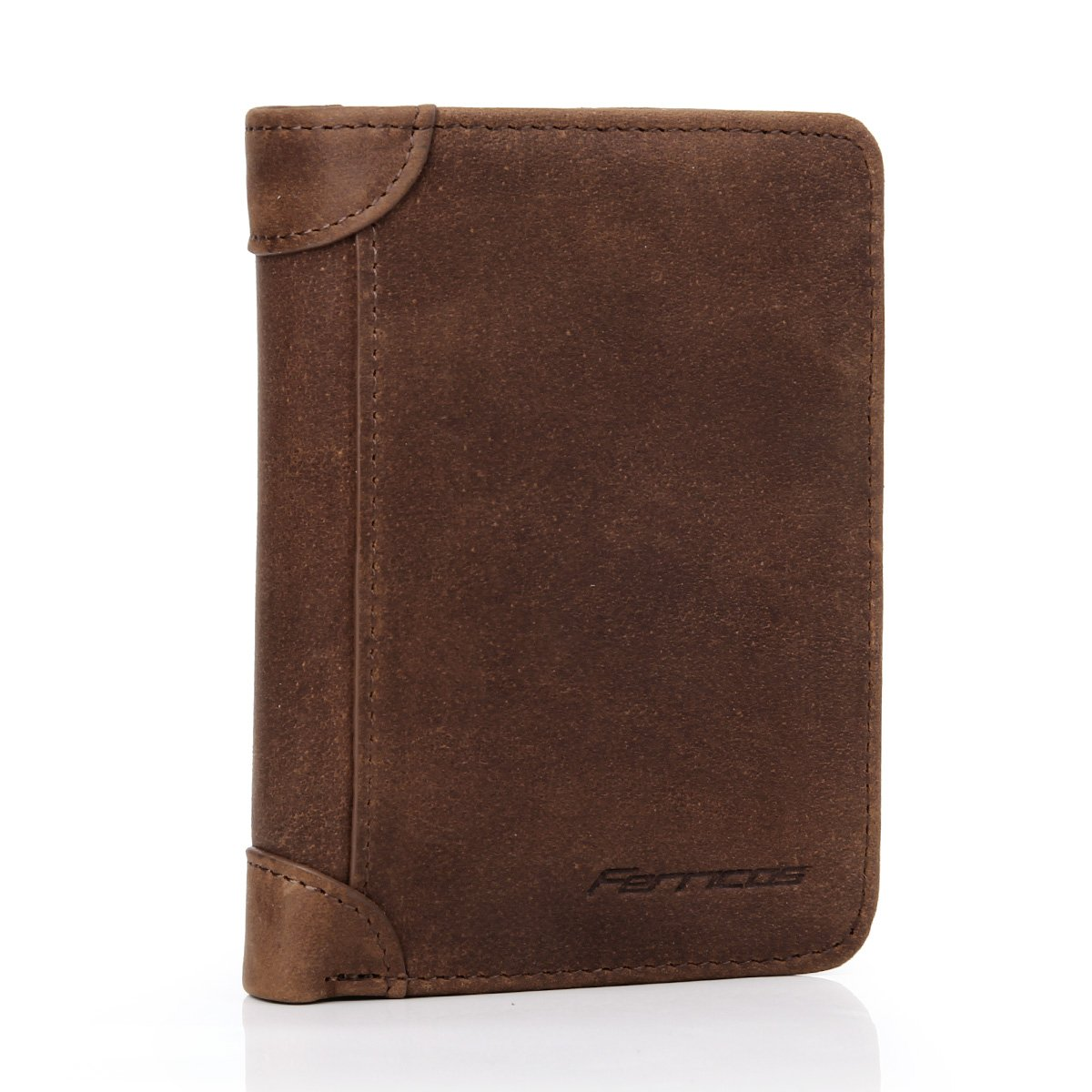 Ferricos RFID Men Cowhide Leather Portrait Short Purse Extra Capacity Trifold Inner Pocket Wallet Card Case Cash Coin Bag Money Clip ID Photo Holder Men's Gift Crazy Horse Brown