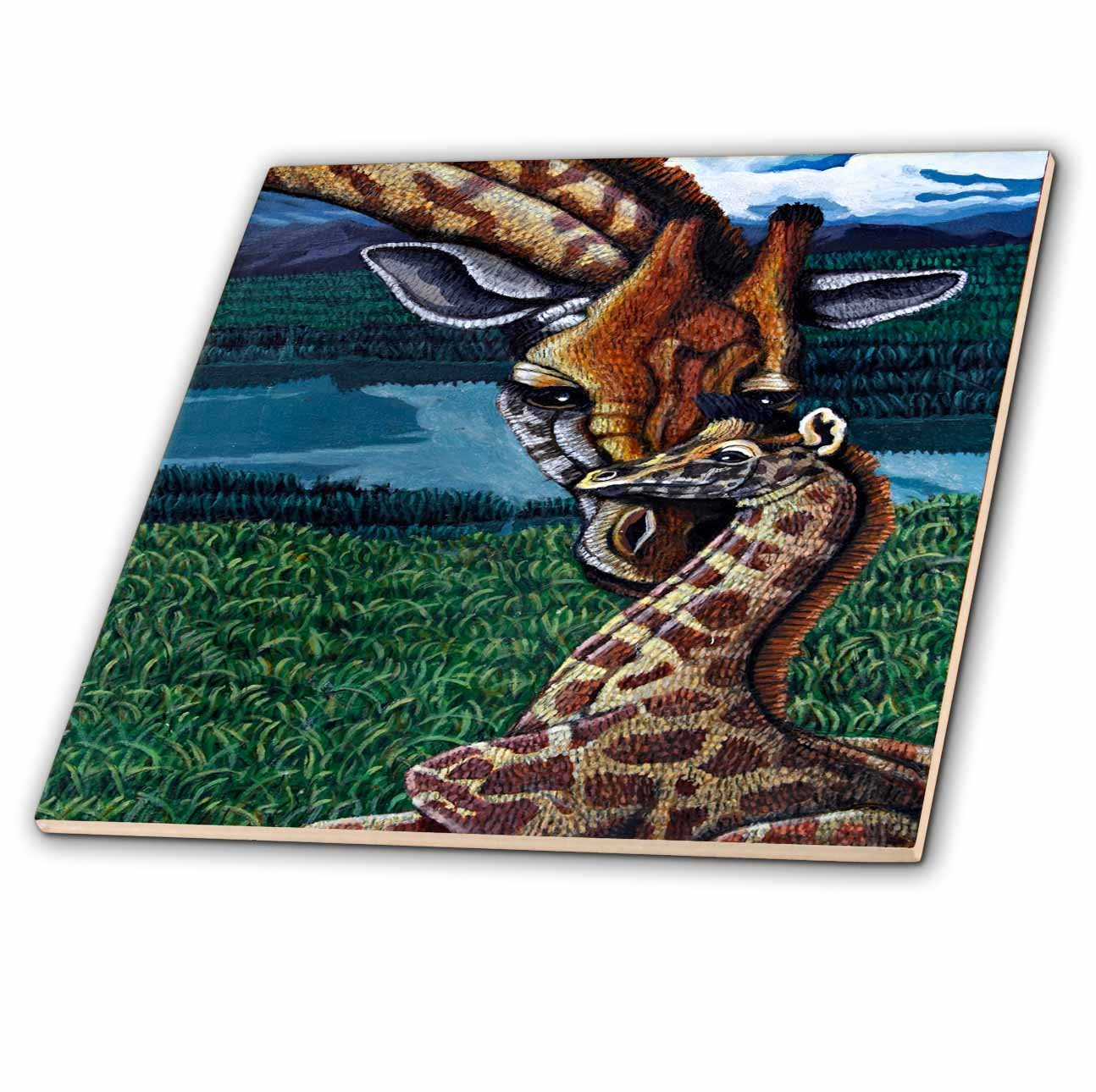 12-Inch 3dRose ct/_3235/_4 Giraffe Mother Ceramic Tile