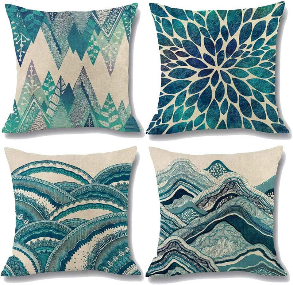 Linen pillowcase Teal pillow covers.