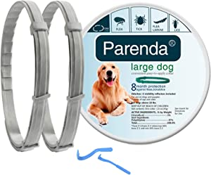 Flea and Tick Collar for Dogs,Flea and Tick Treatment and Prevention for Dogs up to 8 Month,One Size Fits All,100% Natural Ingredients, Waterproof,Include Tick Removal Tools,2 Pack