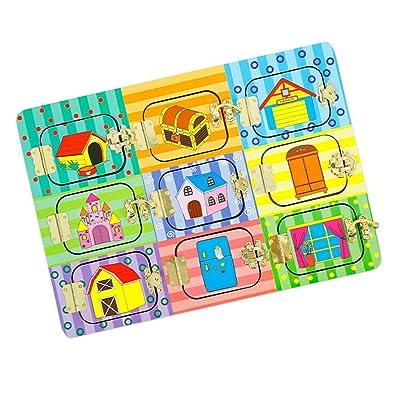 IPOTCH Rompecabezas de Madera Tablero de Cerradura de Dibujos Animados Juguete Educativo para Niños Bebés - Puerta misteriosa: Juguetes y juegos