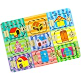 Blesiya Fun Open Locks Latches Board Puzzle Wooden Educational Toys - Mysterious Door