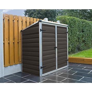 Caseta para contenedores de Palram Voyager - para cubos de basura, color marrón, para almacenamiento de jardín, resistente al agua: Amazon.es: Jardín