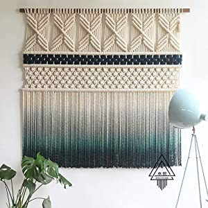 DL&VE Home Decoration for Apartment Living Room Gallery Background,Handmade Woven Wall Decor,Large Bohemian Tapestry,Dip Dyed Macrame Wall Hanging Blue 100x90cm(39.4x35.4inch)