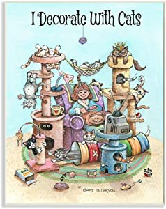 Stupell Industries I Decorate with Cats Funny Cartoon Pet Design, Designed by Gary Patterson Art, 13 x 0.5 x 19, Wall Plaque