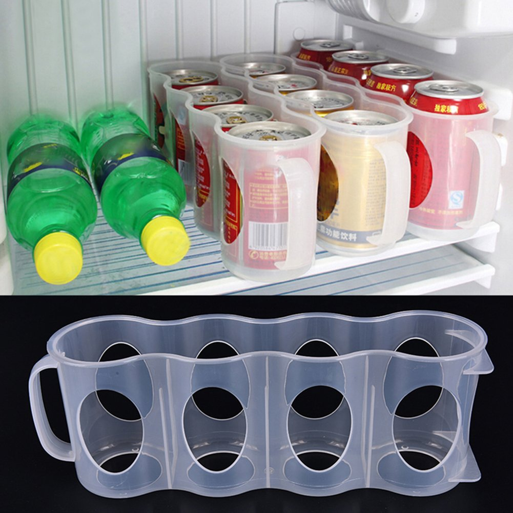 Plastic Kitchen Bin Storage Organizer Rack for Pop/Soda/Beer Bottles for Refrigerator, Pantry, Countertops and Cabinets - Holds Beverage Cans, Water, Juice Boxes, Color Random (8PCS) by w5bhj88