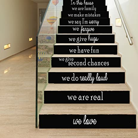 Attractive MEJOY Home Stair Riser Stickers Decorative Stair Riser Decal 3D Creative  Staircase Sticker Black