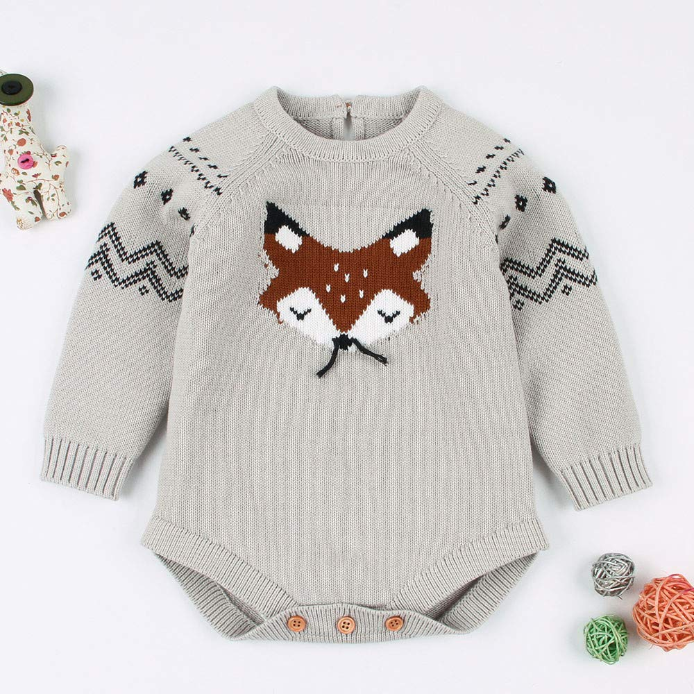CSSD Affordable Newest Stylish Baby Girls Winter Cute Sweater,Kids Long Sleeve Little Fox Siamese Knitted Jumpsuit Outfits