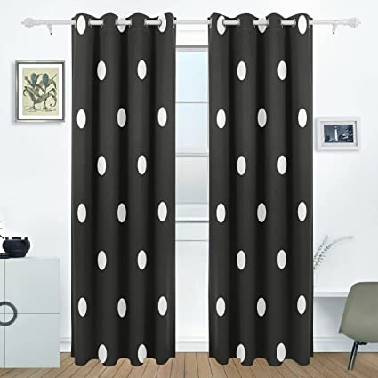 AIDEESS White Black Polka Dot Blackout Curtains Darkening Thermal Insulated  Polyester Grommet Top Blind Curtain For