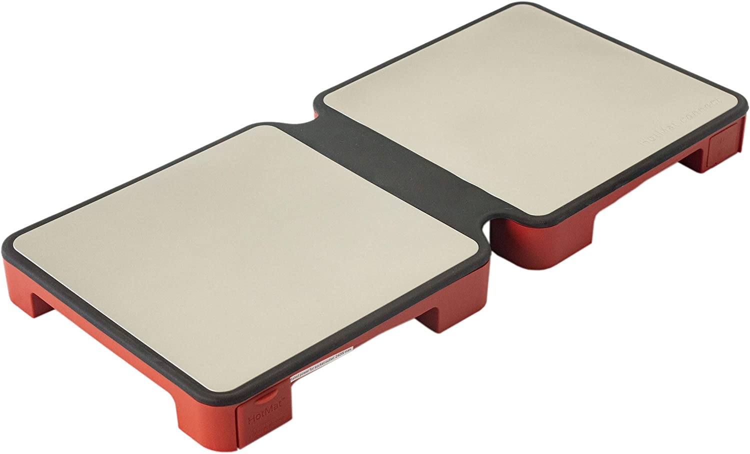 myhotmat Modular Electric Warming Tray | World's Only Two Dish Foldable Food Warmer With Adjustable Temperature Control | Lightweight, Easy-To-Store Kitchen Appliances (Red)