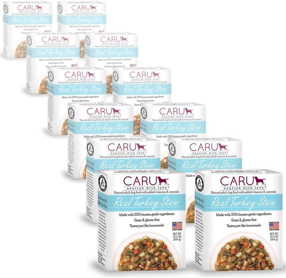 Caru – Turkey Stew for Dogs, Natural Adult Wet Dog Food with Added Vitamins Minerals, Free from Grain, Wheat Gluten Case of 12, 5 oz