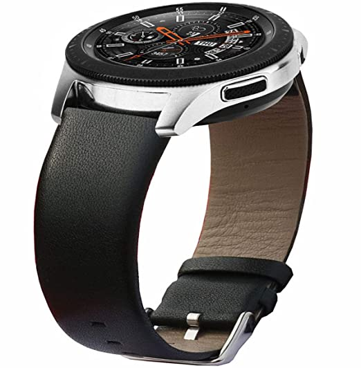 Olytop Compatible Samsung Galaxy Watch 46mm Band & Gear S3 Bands, 22mm Ticwatch Pro Premium Leather Wrist Band Replacement Strap Accessory for Gear S3 ...