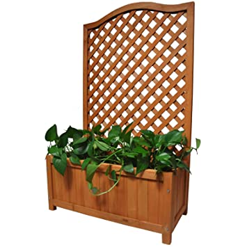 Gr8 Garden Rectangular Wooden Planter With Lattice For Vines Garden Climbing Flower Plant Pot Box Garden Patio Wood Trellis Panel