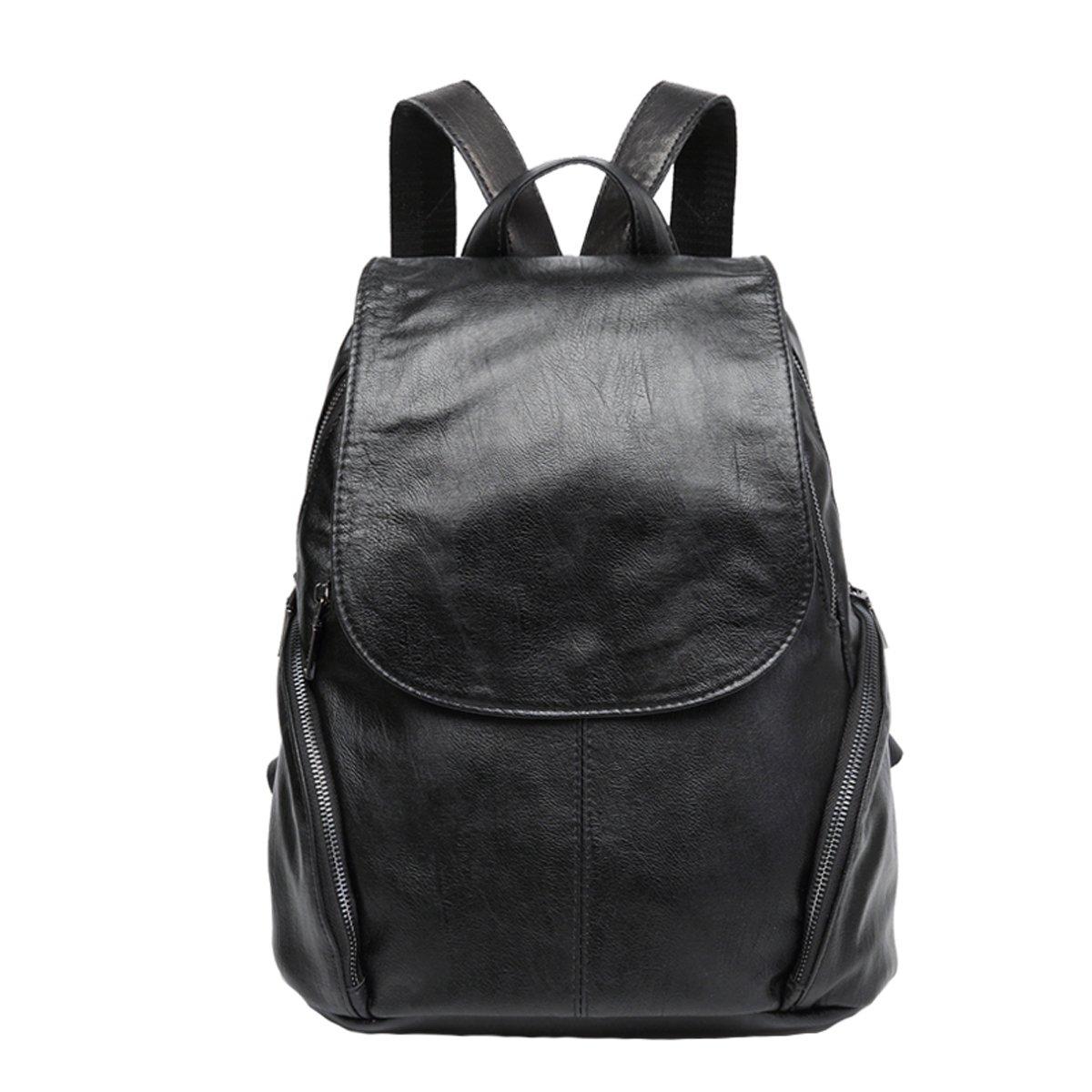 TUBACKPACK Soft Genuine Leather Backpack Shoulders Handbags Women's Satchel bag pockets for Girls