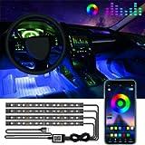 Car Led Lights Interior, 4 PCS 48 LED Waterproof Multi DIY Color Music Car LED Strip Light Under Dash Lighting Kit with…