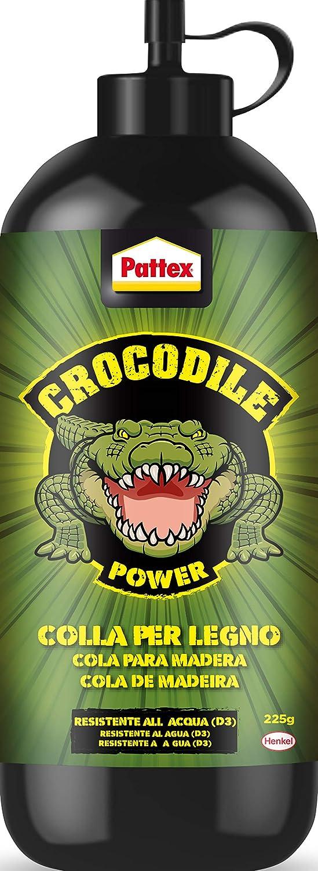 Pattex Crocodile Power Cola para madera, pegamento fuerte para madera para interiores y exteriores*, cola transparente al secar, cola resistente al agua, 1x225g
