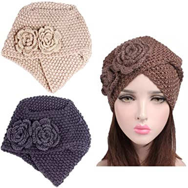 Luckystaryuan Cyber Monday 3Pack Women s Knit Chemo Hat Turban Headwear for  Cancer Patients (Style 1 9c3618d466e