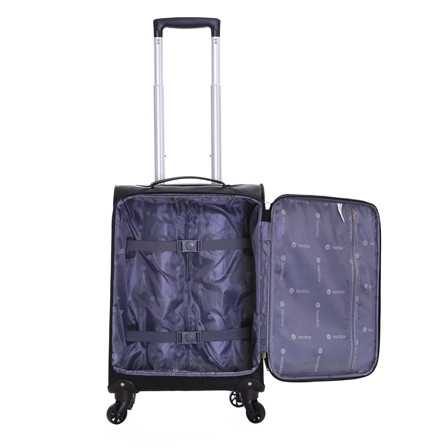 Karabar Lecce Set of 2 Lightweight Suitcases, Black: Amazon.co.uk ...