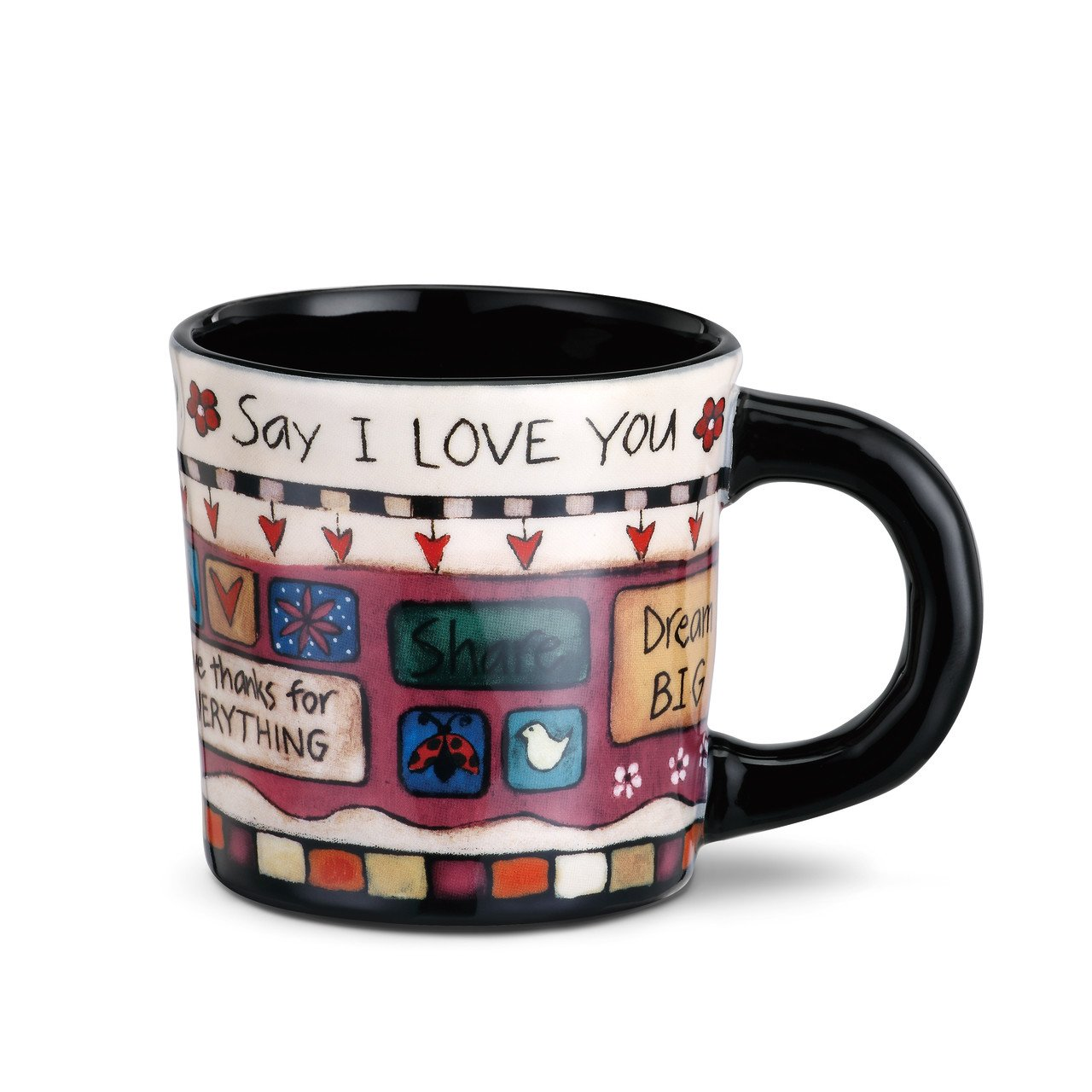 Say I Love You Give Freely Black 12 Ounce Glossy Stoneware Mug With Handle