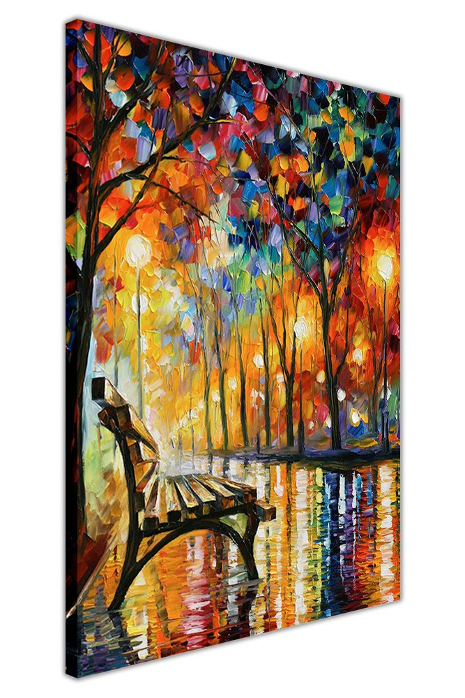 Solitude d'automne de Leonid Afremov - Peinture à l'huile imprimée sur toile encadrée - Impression pour décoration/Art mural, Toile, 01- A4 - 12' X 8' (30CM X 20CM) 01- A4 - 12 X 8 (30CM X 20CM) Canvas It Up