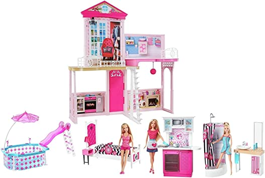 Barbie Set completo casa di Barbie, con 3 Barbie incluse