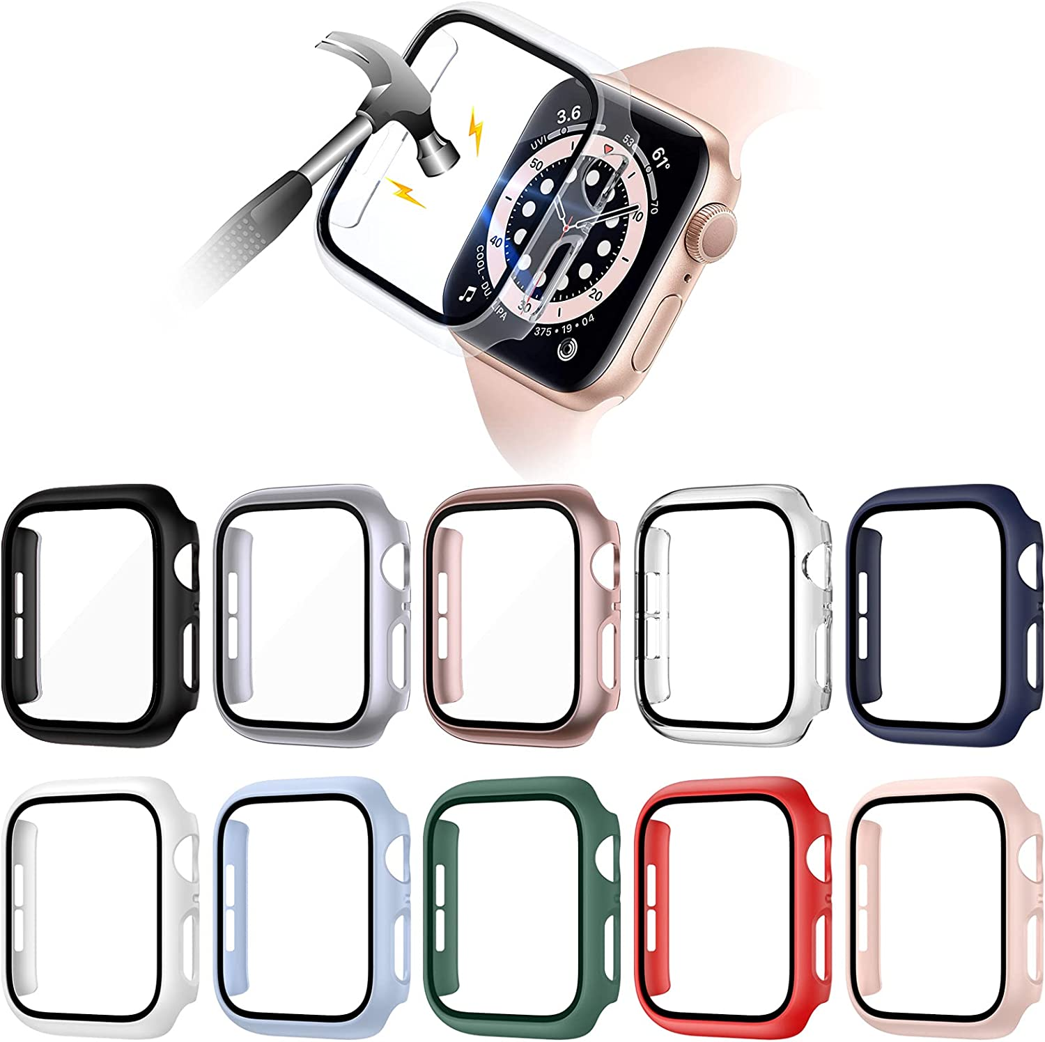 VASG [10 Pack] Hard PC Case Compatible with Apple Watch Series 6 / SE/Series 5 / Series 4 40mm with Built in Tempered Glass Screen Protector, Ultra-Thin Full Cover Bumper Compatible with iWatch 40mm