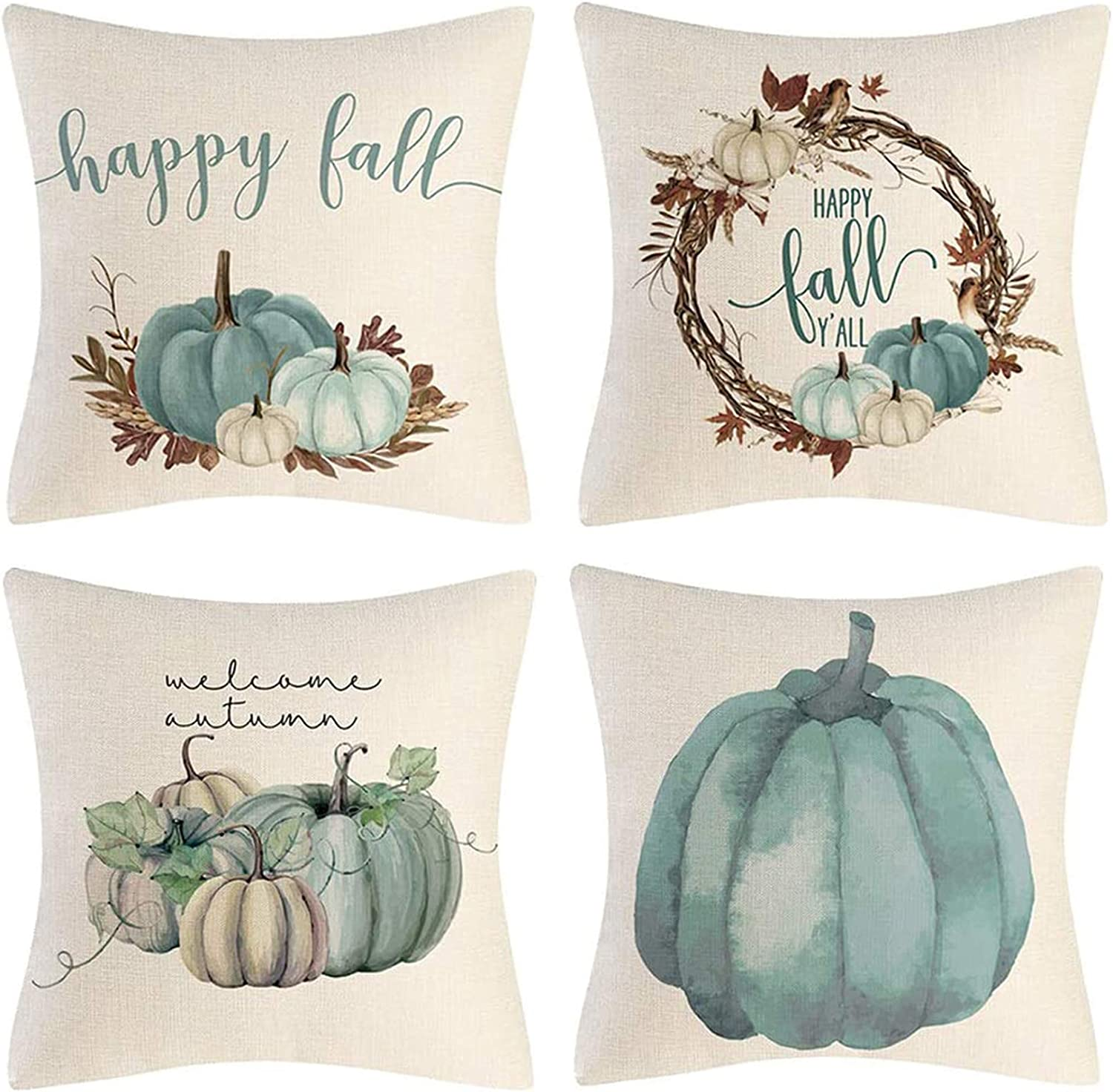 CHICHIC Fall Throw Pillow Covers, 18x18 Inch Autumn Pumpkin Decorations Throw Pillows Cases, Fall Decor Thanksgiving Day Decorations Harvest Decorative Cushion Covers for Couch, Set of 4, Blue