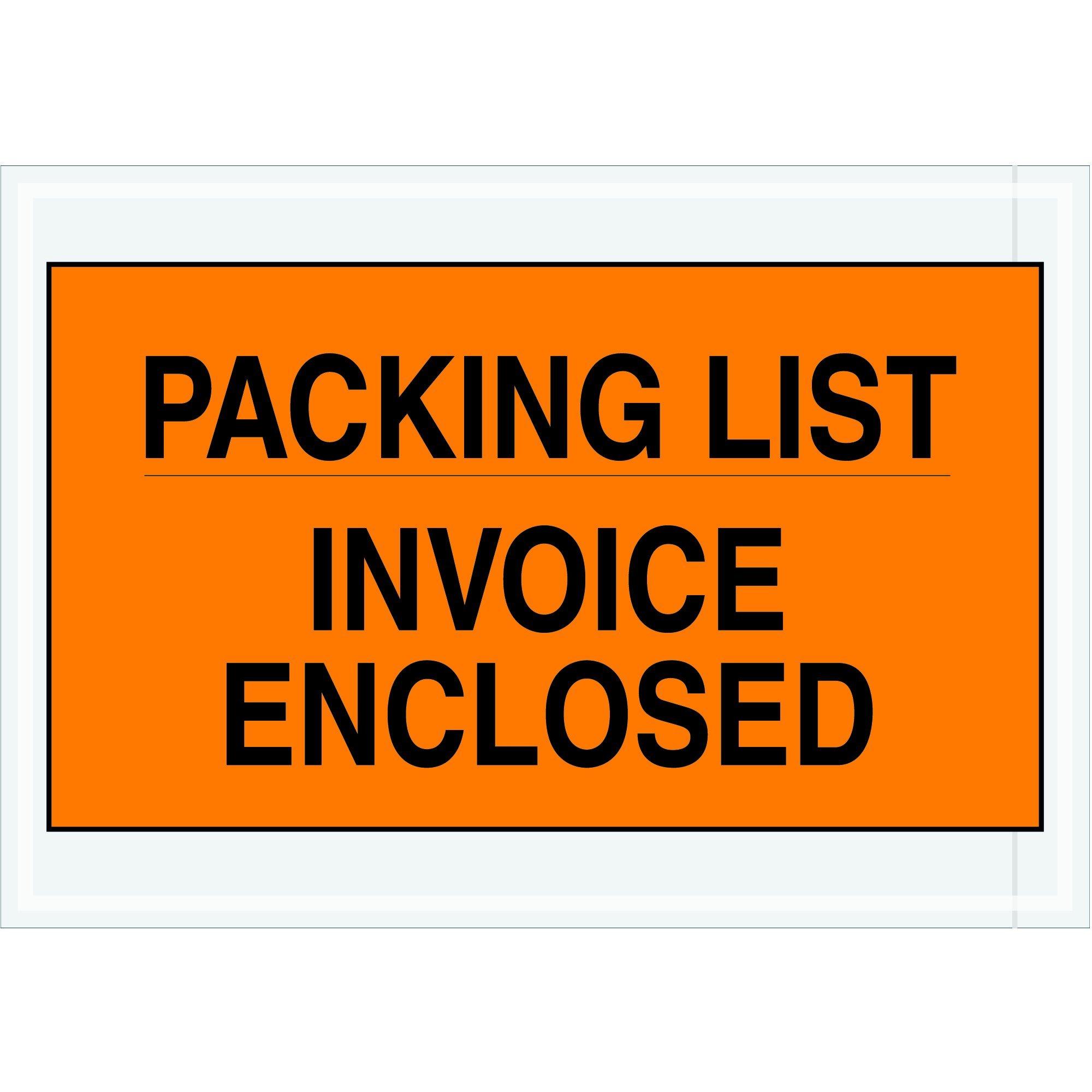 BOX USA BPL419''Packing List/Invoice Enclosed'' Envelopes, 7'' x 10'', Orange (Pack of 1000)