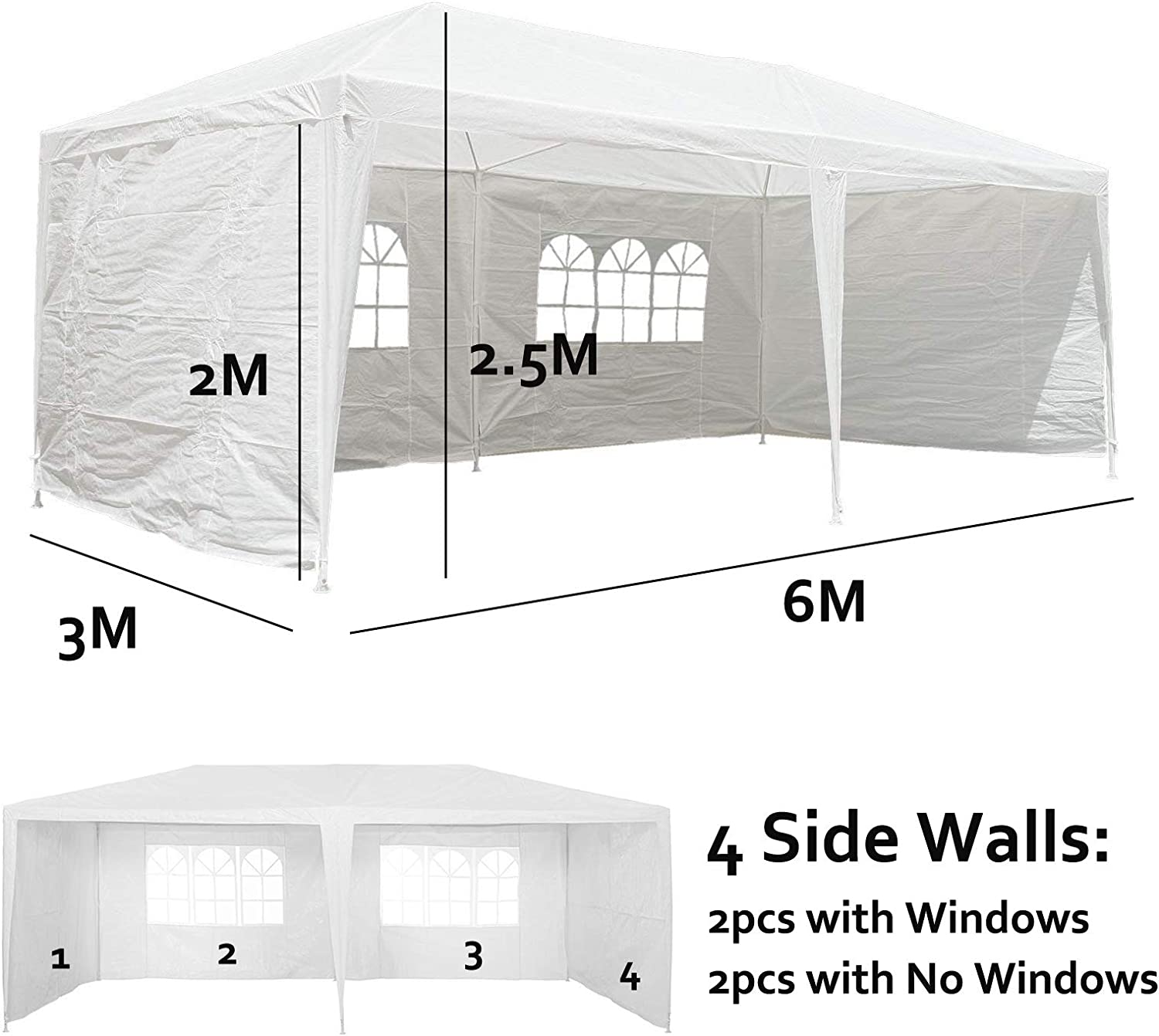 dicn 3x3m Gazebo Green Party Tent PE Cover Waterproof with 4 Side Walls Steel Tubes Awning Marquee Canopy Shelter for Outdoor Wedding Camping Events