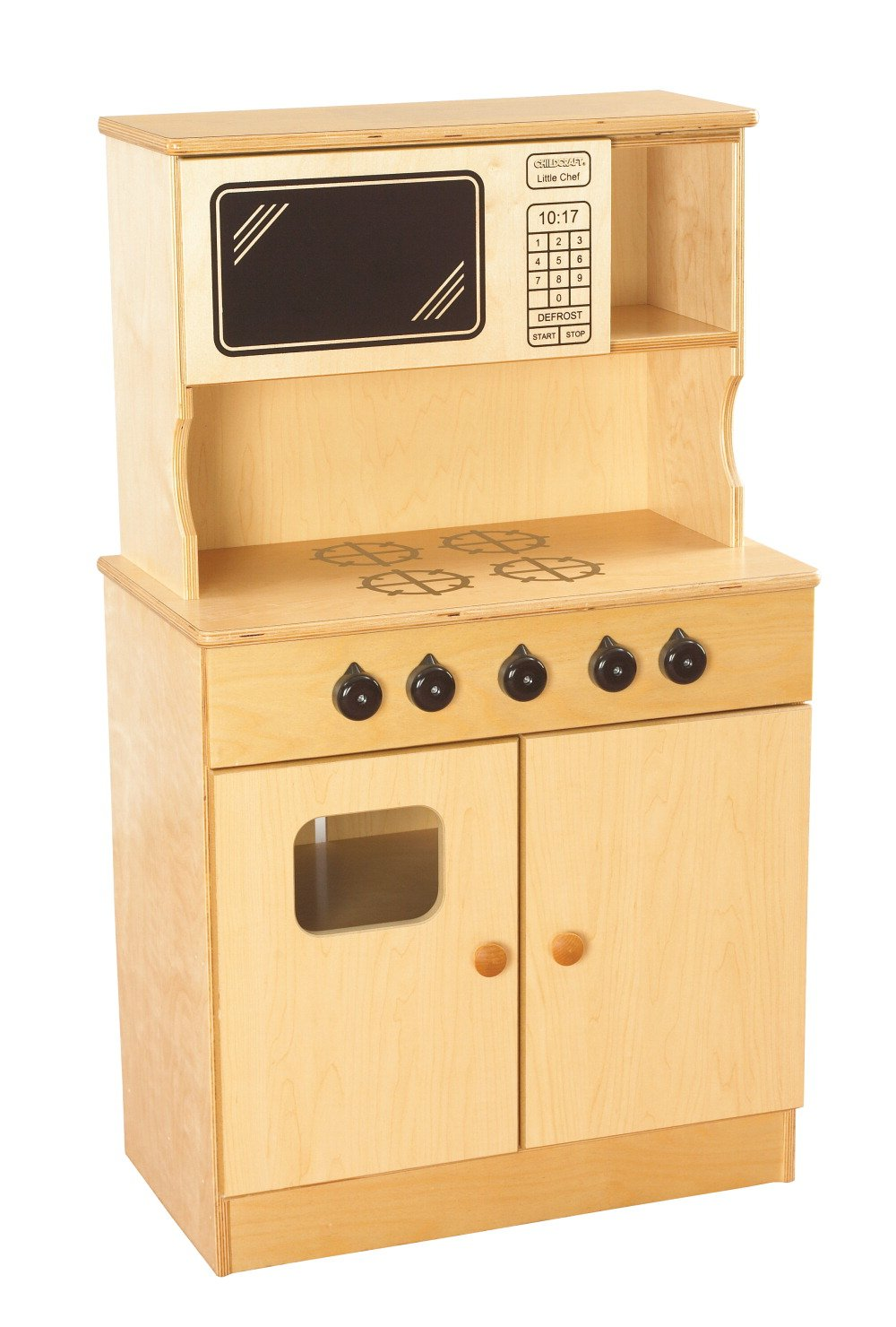 Childcraft 1464143 Stove and Microwave, Wood, 40-7/8'' x 13-3/8'' x 24'', Natural Wood Tone