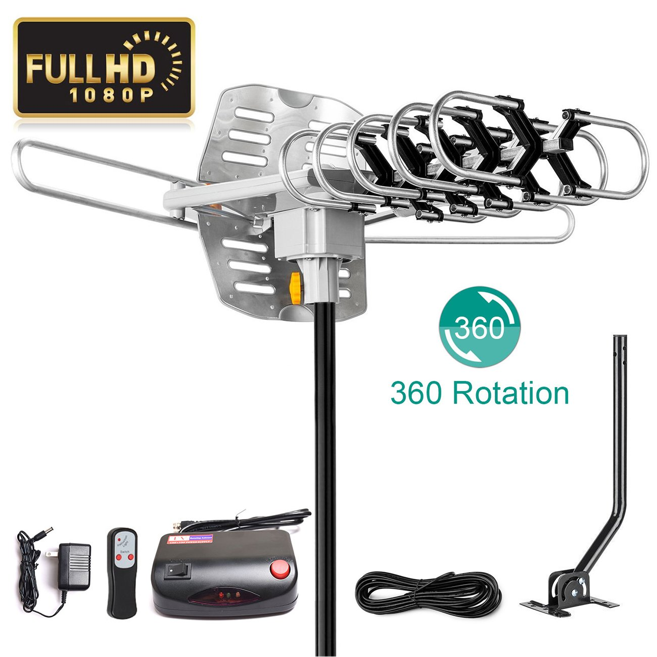 UPGRADED 2018 VERSION HD Digital TV Antenna Kit–Best 150 Miles Long Range High-Definition -UHF/VHF 4K 1080P Channels Wireless Remote Control - 33ft Coax Cable - Support All TV's-1080p 4K ready(W/pole)